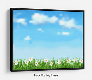 Background with grass and white flowers Floating Frame Canvas