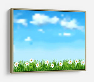 Background with grass and white flowers HD Metal Print