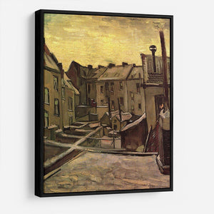 Backyards of Old Houses in Antwerp in the Snow by Van Gogh HD Metal Print