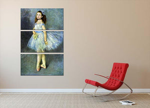 Ballet Dancer by Renoir 3 Split Panel Canvas Print - Canvas Art Rocks - 2