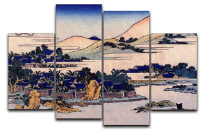 Banana plantation at Chuto by Hokusai 4 Split Panel Canvas  - Canvas Art Rocks - 1