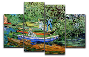 Bank of the Oise at Auvers by Van Gogh 4 Split Panel Canvas  - Canvas Art Rocks - 1