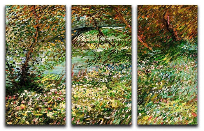 Banks of the Seine with Pont de Clichy in the Spring by Van Gogh 3 Split Panel Canvas Print