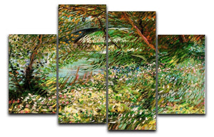 Banks of the Seine with Pont de Clichy in the Spring by Van Gogh 4 Split Panel Canvas  - Canvas Art Rocks - 1