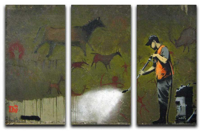 Banksy Cave Graffiti Removal 3 Split Panel Canvas Print