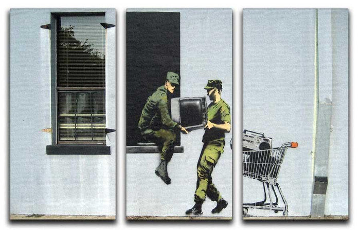 Banksy Looting Soldiers 3 Split Panel Canvas Print