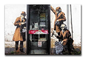 Banksy Cheltenham Telephone Box Spies Print - Canvas Art Rocks - 1