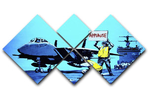 Banksy Aircraft Carrier Applause 4 Square Multi Panel Canvas  - Canvas Art Rocks - 1