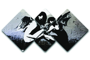 Banksy Angels In Moonlight 4 Square Multi Panel Canvas  - Canvas Art Rocks - 1