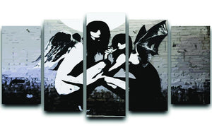Banksy Angels In Moonlight 5 Split Panel Canvas  - Canvas Art Rocks - 1