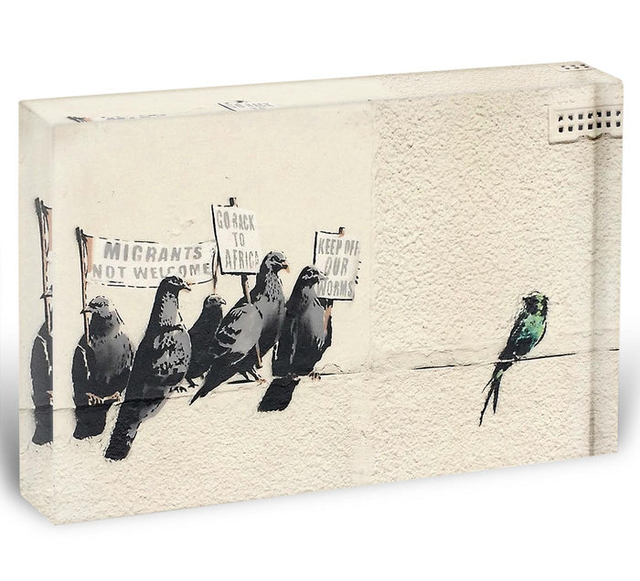 Banksy Anti-Immigration Birds Acrylic Block