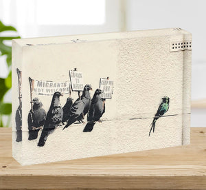 Banksy Anti-Immigration Birds Acrylic Block - Canvas Art Rocks - 2