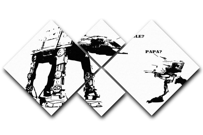 Banksy Atat 4 Square Multi Panel Canvas