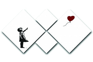 Banksy Balloon Heart Girl 4 Square Multi Panel Canvas  - Canvas Art Rocks - 1