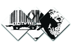 Banksy Barcode Leopard 4 Square Multi Panel Canvas  - Canvas Art Rocks - 1