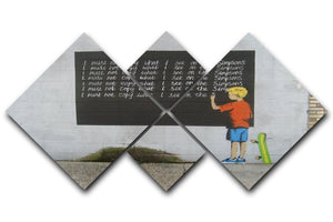 Banksy Bart Simpson 4 Square Multi Panel Canvas  - Canvas Art Rocks - 1