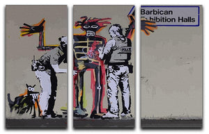 Banksy Basquiat Metropolitan Police 3 Split Panel Canvas Print - Canvas Art Rocks - 1