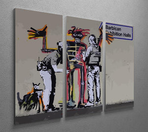 Banksy Basquiat Metropolitan Police 3 Split Panel Canvas Print - Canvas Art Rocks - 2