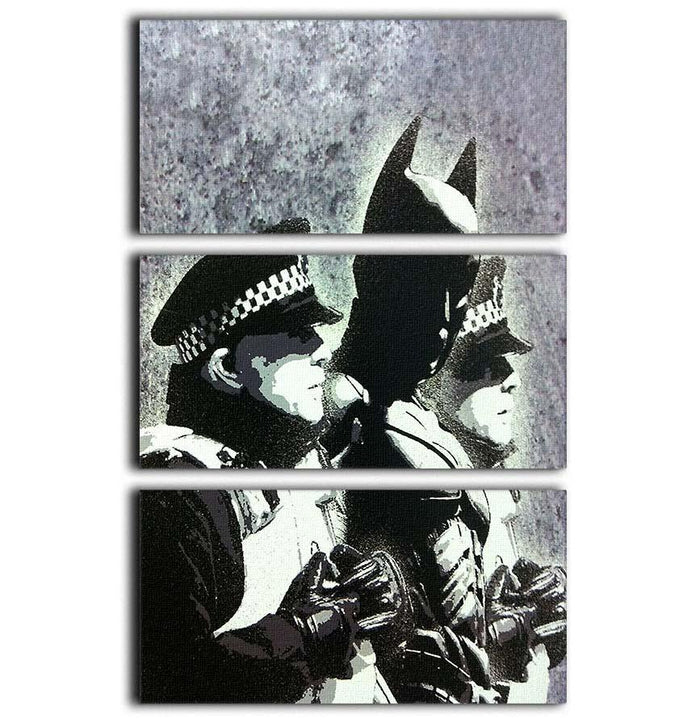 Banksy Batman and the Police 3 Split Panel Canvas Print