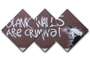 Banksy Blank Walls Are Criminal 4 Square Multi Panel Canvas  - Canvas Art Rocks - 1