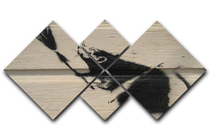 Banksy Broom Rat 4 Square Multi Panel Canvas  - Canvas Art Rocks - 1