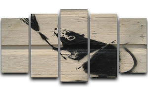 Banksy Broom Rat 5 Split Panel Canvas  - Canvas Art Rocks - 1