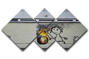 Banksy Burning Tyre 4 Square Multi Panel Canvas  - Canvas Art Rocks - 1