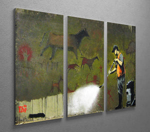 Banksy Cave Graffiti Removal 3 Split Panel Canvas Print - Canvas Art Rocks