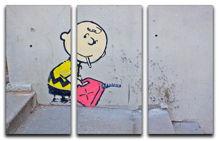 Banksy Charlie Brown - Naughty Boy 3 Split Panel Canvas Print