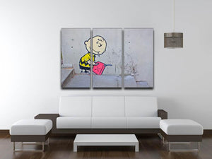 Banksy Charlie Brown - Naughty Boy 3 Split Panel Canvas Print - Canvas Art Rocks