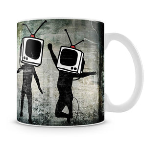 Banksy Dancing TV Heads Mug - Canvas Art Rocks