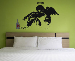 Banksy Drunk Fallen Angel Wall Sticker - Canvas Art Rocks