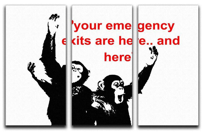 Banksy Emergency Exits 3 Split Panel Canvas Print