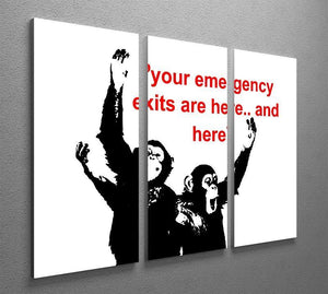 Banksy Emergency Exits 3 Split Panel Canvas Print - Canvas Art Rocks - 4