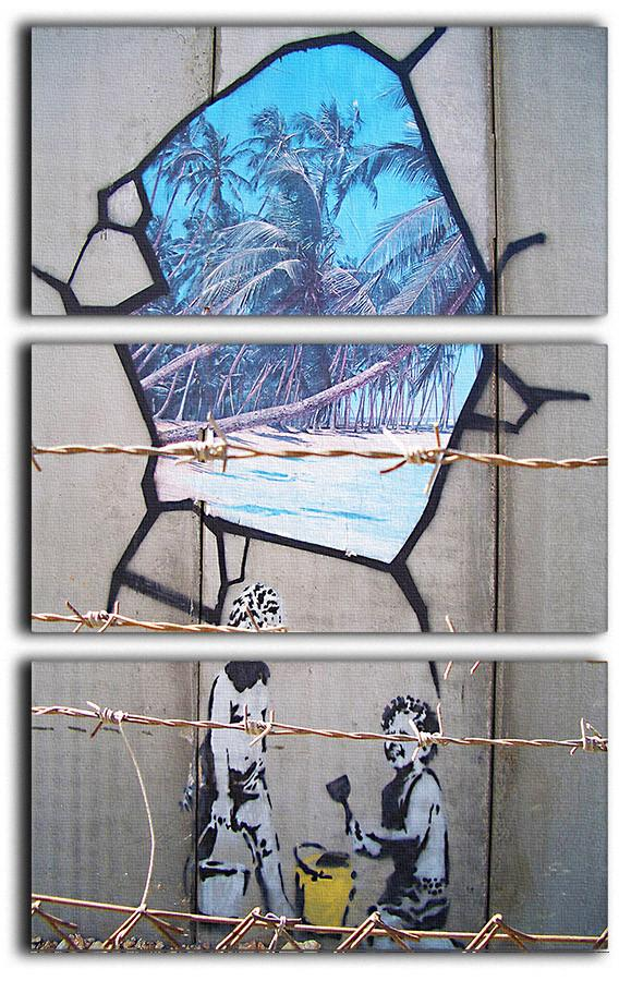 Banksy Finding Paradise 3 Split Panel Canvas Print