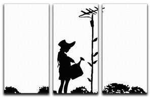 Banksy Flower Aerial Girl 3 Split Panel Canvas Print - Canvas Art Rocks