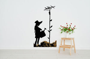 Banksy Flower Aerial Girl Wall Sticker - Canvas Art Rocks
