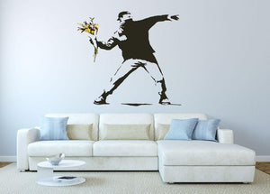 Banksy Flower Thrower Wall Sticker - Canvas Art Rocks