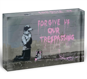 Banksy Forgive Us Acrylic Block - Canvas Art Rocks - 1