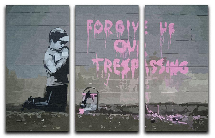 Banksy Forgive Us 3 Split Panel Canvas Print