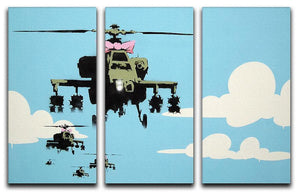 Banksy Friendly Helicopters 3 Split Panel Canvas Print - Canvas Art Rocks