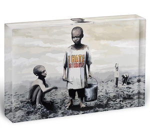 Banksy I Hate Monday Acrylic Block - Canvas Art Rocks - 1