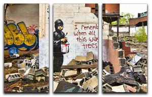 Banksy I Remember When All This Was Trees 3 Split Panel Canvas Print - Canvas Art Rocks