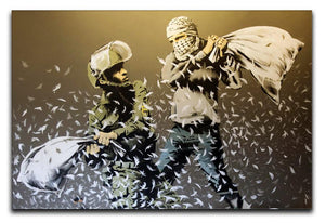 Banksy Israeli & Palestinian Pillow Fight Canvas Print & Poster - Canvas Art Rocks