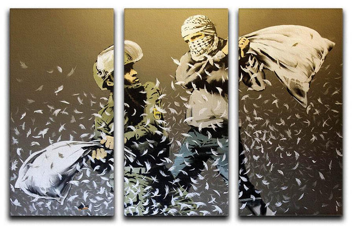 Banksy Israeli & Palestinian Pillow Fight 3 Split Canvas Print