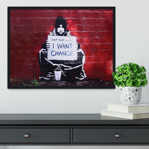 Banksy Keep Your Coins Framed Print - Canvas Art Rocks - 2