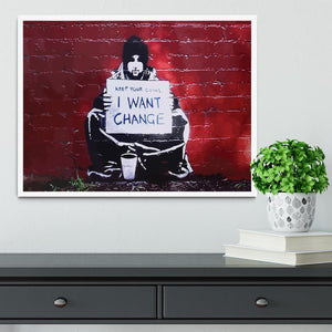 Banksy Keep Your Coins Framed Print - Canvas Art Rocks -6
