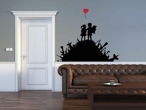 Banksy Kids On Gun Hill Wall Sticker - Canvas Art Rocks