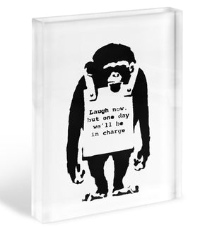 Banksy Laugh Now Monkey Acrylic Block