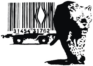 Banksy Leopard Barcode Wall Sticker - Canvas Art Rocks